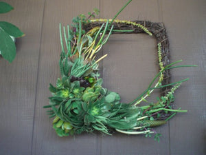 Colorful box shaped 12 inch Willow Branch Squared Living Wreath of Growing Succulent Plants