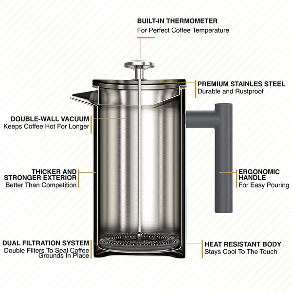 Barista Warrior Insulated Stainless Steel French Press with Thermometer