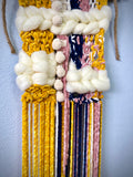 Mustard yellow, navy blue, blush pink, cream white wall hanging, wall decor, macrame