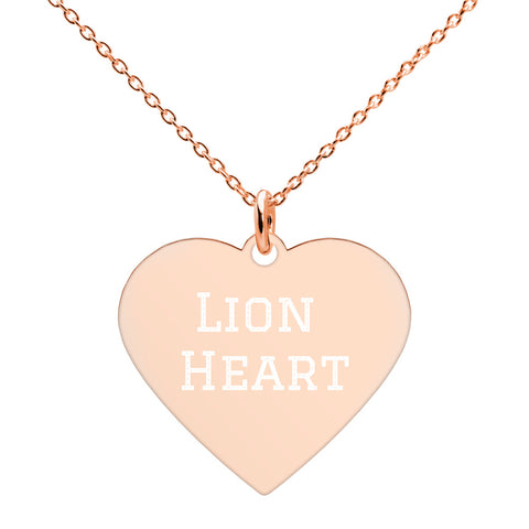 Lion Heart Engraved Heart Necklace