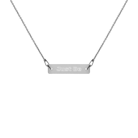 Engraved Silver Bar Chain Necklace - Just Be