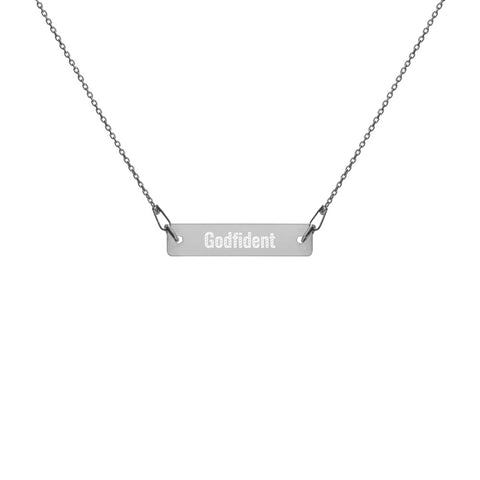 Engraved Silver Bar Chain Necklace - Godfident