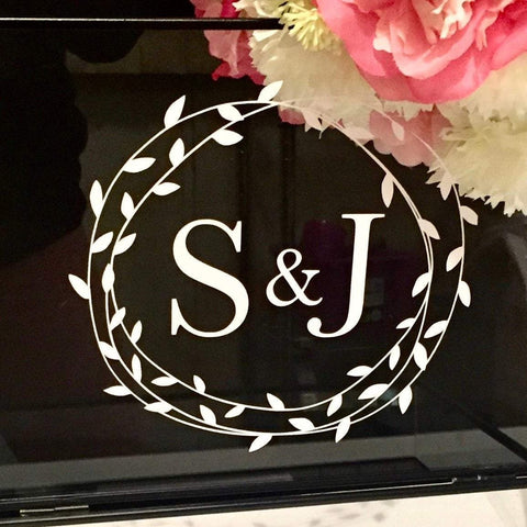 Initials With Wreath Decal