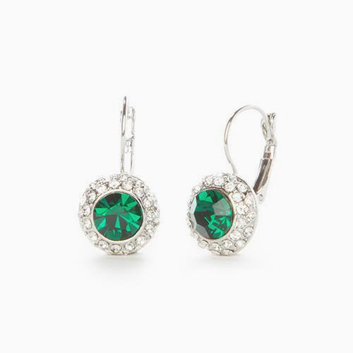 Emerald Austrian Crystal Earrings - Links & Charms