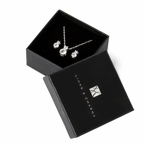 Simulated Diamond Gift Set - Links & Charms