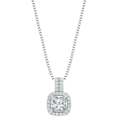 Sterling Silver Cushion Cut Necklace - Links & Charms