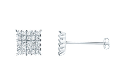 Sterling Silver Crystal Square Studs - Links & Charms