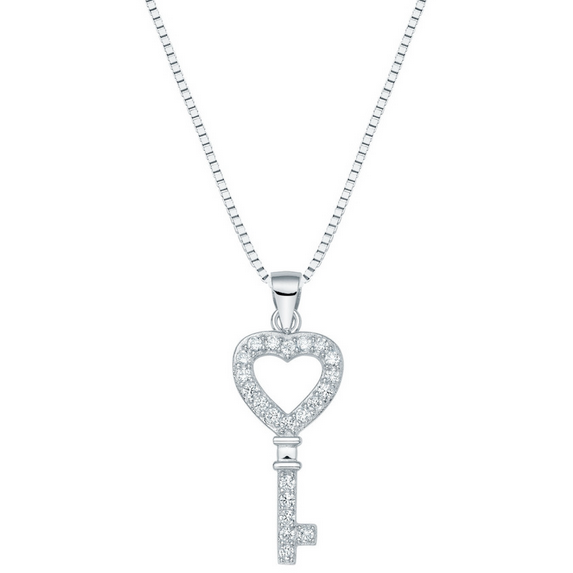 Sterling Silver Mini Heart Key Necklace - Links & Charms