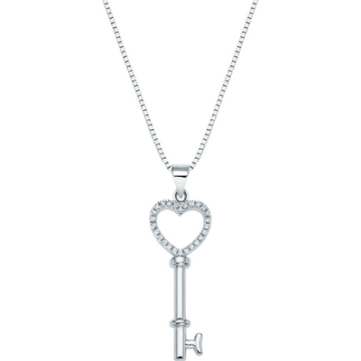 Sterling Silver Heart Key Necklace - Links & Charms