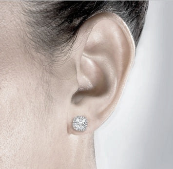 Sterling Silver Cushion Cut Studs