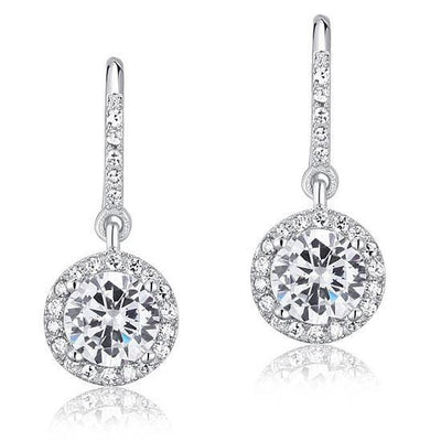 Sterling Silver Halo Dangle Earrings - Links & Charms