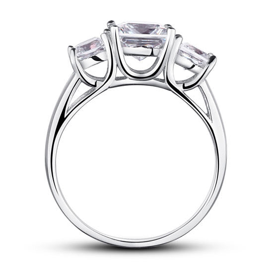 Sterling Silver Simulated Diamond Ring - Links & Charms