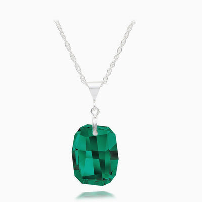 Emerald Austrian Crystal Necklace - Links & Charms