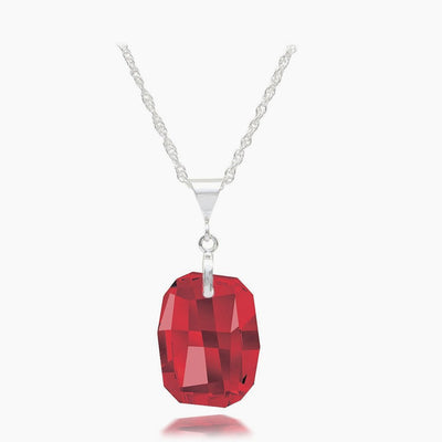 Ruby Austrian Crystal Necklace - Links & Charms