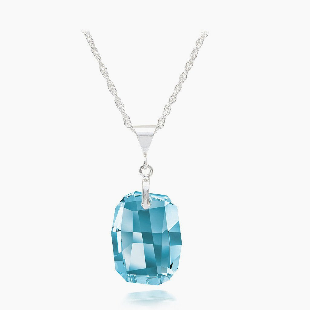 Aquamarine Austrian Crystal Necklace - Links & Charms