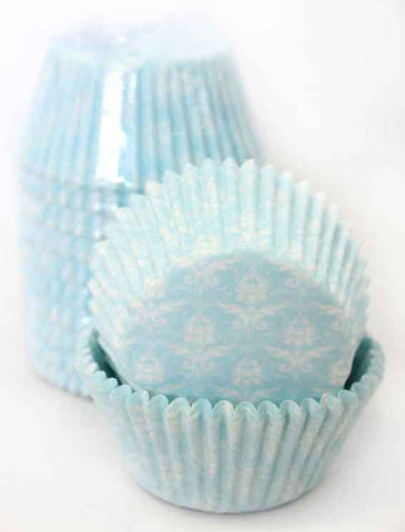 BLUE DAMASK BAKING CUPS SMALL (250)