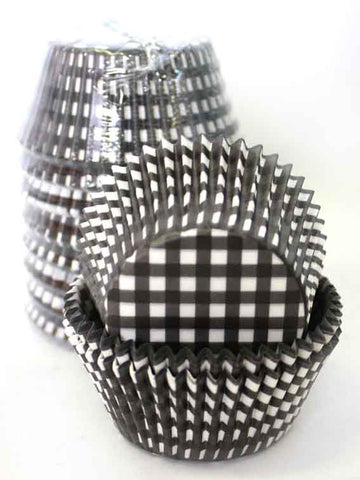 BLACK GINGHAM BAKING CUPS SMALL (250)