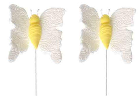 BUTTERFLY medium WHITE *on wire*(16)