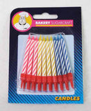 SPIRAL CANDLES 20 ASSTD WITH HOLDERS(12)