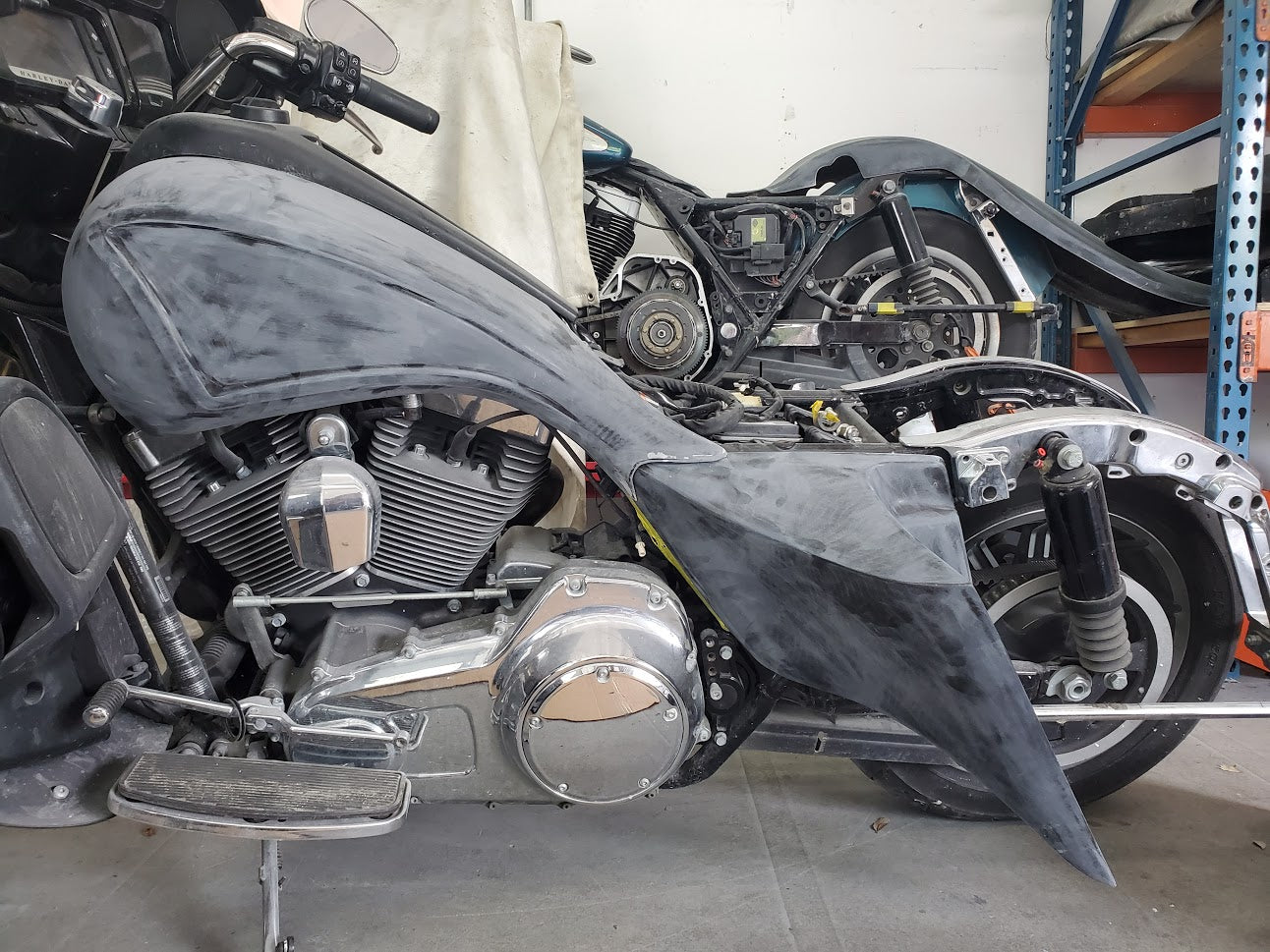 "Harley Davidson 4"" Stretched Side Covers Flh  Motorcycle Extended 2009-2013"
