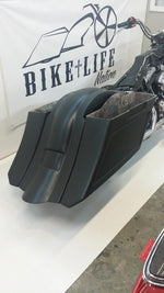 "6"" Down & Out overlay Fender No Lids  Harley 1997-2008 flh SaddleBags Stretched"