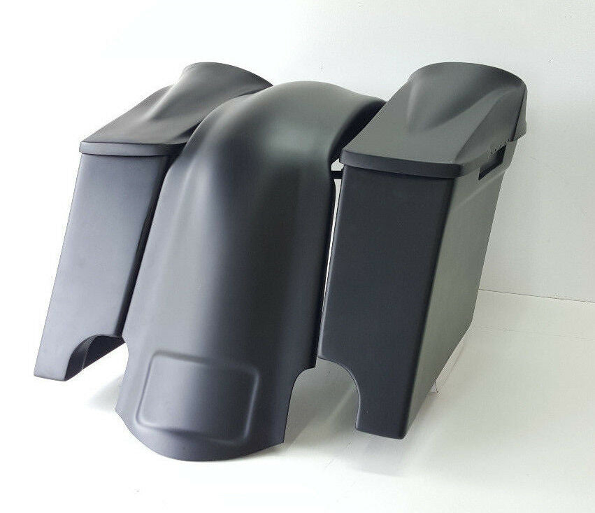"4"" Inch Harley Davidson 8.8 Lids, Saddlebags, Overlay Fender Dual Cutout FLH"