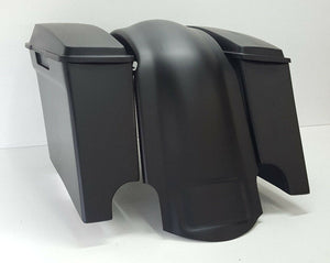 "4"" Inch Harley Davidson Saddlebags Overlay Fender Stock Lids Dual Cutout FLH"