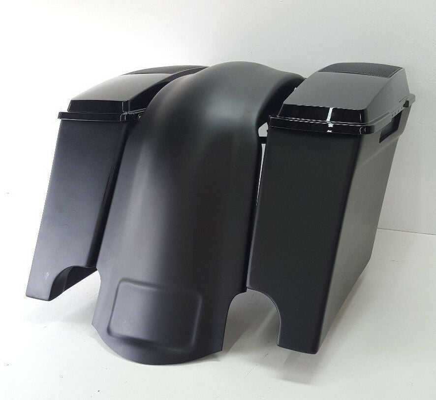 "HarleyExtended 4"" Saddlebags 6x9 Speaker Lids #2 Dual Exhaust"