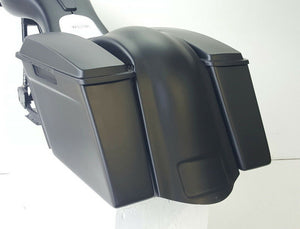 "Stretched Harley Davidson 4"" Saddlebags Rear Overlay Fender Closed Stock Lids"