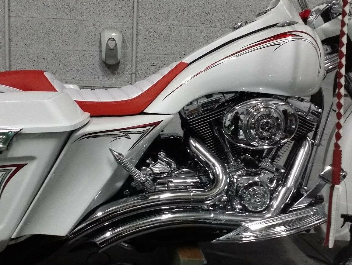 "6"" Stretched Extended Harley Davidson Side Covers For Dual Exhaust Flh"
