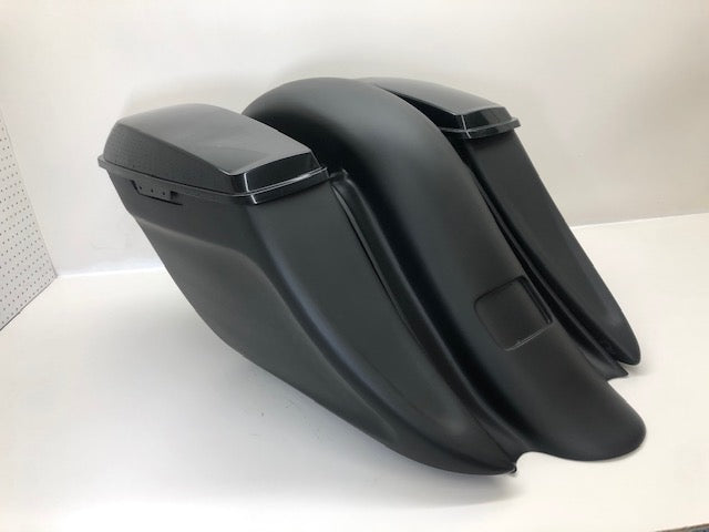 "2009-2020 Harley Davidson 8"" Down 12"" Back Shmoney Saddle Bags And Fender"