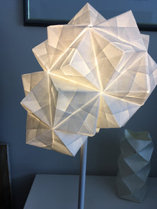 Modular Origami Table Lamp lit at night