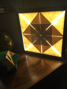 CU of LED Origami Wall Art made with Japanese Paper that Lights Up