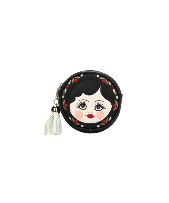 Russian Dolls Round Zipper Coin Purse - Black