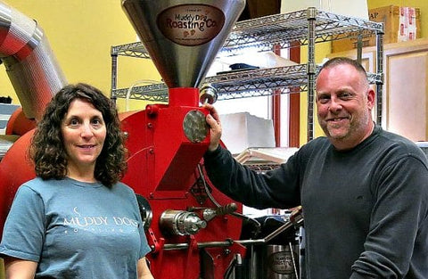 Photo of Jim and Debbie Pellegrini at Muddy Dog Coffee Roasters