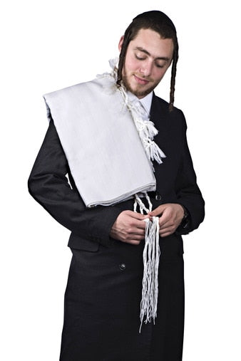tallis wool hamefoar deluxe - white stripes - With Tzitzis