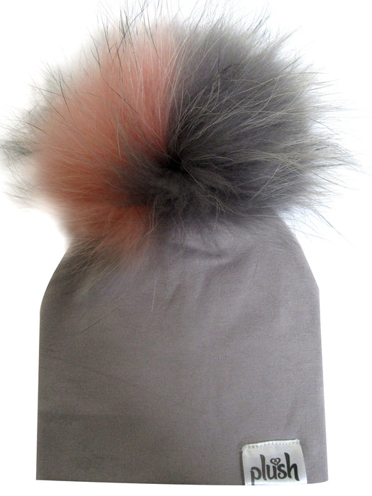 PLUSH COTTON HAT WITH DETACHABLE POMPOM- GREY/BLUSH