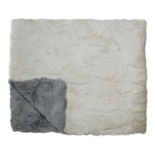 PLUSH BABY BLANKET- IVORY AND LIGHT GREY