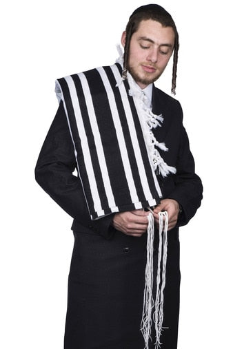tallis wool - authentic turkish - With Tzitzis