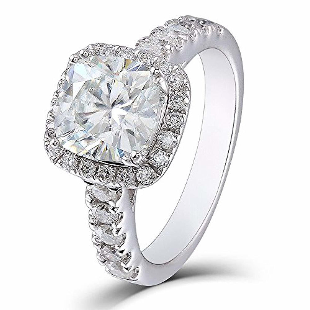 DovEggs 2ct Center 7.5mm Cushion Cut 2.3mm Width G-H-I Color Created Moissanite Engagement Ring Solitare with Accents Platinum Plated Silver