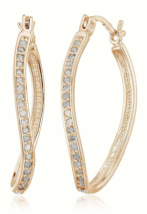 1/4 CT Diamond Hoop Earrings in Rose Gold Plated over .925 Sterling Silver