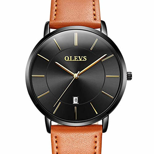 OLEVS Minimalist New Men's Ultra Thin Retro Yellow/Brown/Black/Deep Blue PU Leather Band Quartz Wrist Watches, Waterproof & Calendar Window Father's Day Gifts