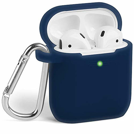Airpods Case, GMYLE Silicone Protective Shockproof Wireless Charging Airpods Earbuds Case Cover Skin with Keychain kit Set Compatible for Apple AirPods 1 & 2 - Navy Blue (Front LED Visible)
