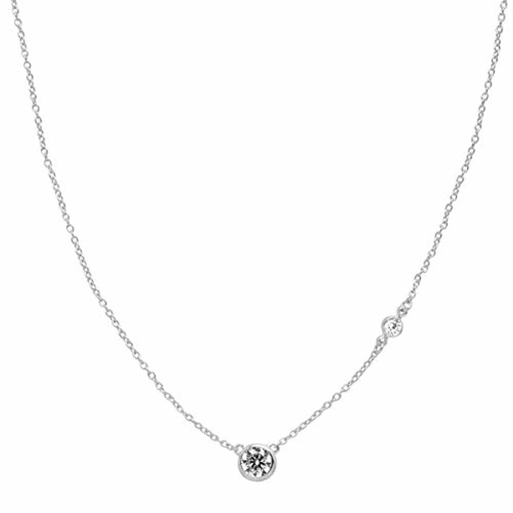 "Silpada 'Marvel' Circular Cubic Zirconia Station Pendant Necklace in Sterling Silver, 16"" + 2"""