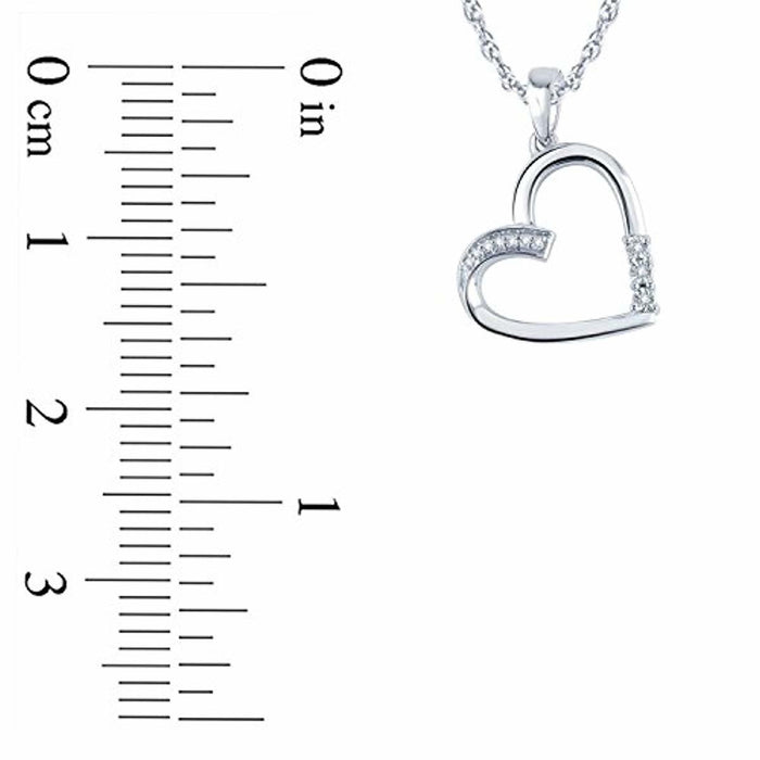 Tesoro Mio Sterling Silver 1/20 Carat Round Cut (I-J Color, I2-I3 Clarity) Natural Diamond Heart Pendant Necklace for Women