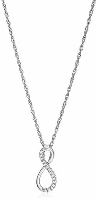 1/10 cttw Diamond Infinity Pendant in 10K White Gold with 18 Inch Chain 1/2 Inch