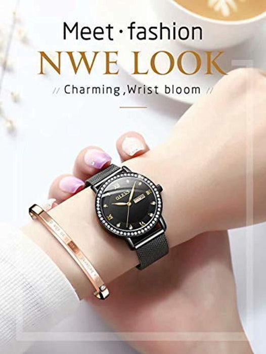 Watches for Women Waterproof Rhinestone Multifunction with Luminous Date Week dial Rose Gold Stainless Steel Strap Ladies Watch Fashion Wrist Watch with Gift Box