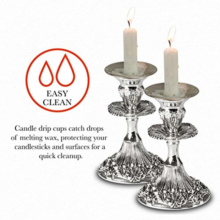 Ner Mitzvah Reusable Metal Candlestick Liners and Drip Guards - Medium Nickel Plated Candle Holder Protector Bobeches - Silver - 2 Pack