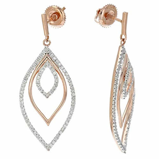 1/2 ctw Diamond Marquise Shape Dangle Earrings 10K White and Rose Gold 1.50 Inch