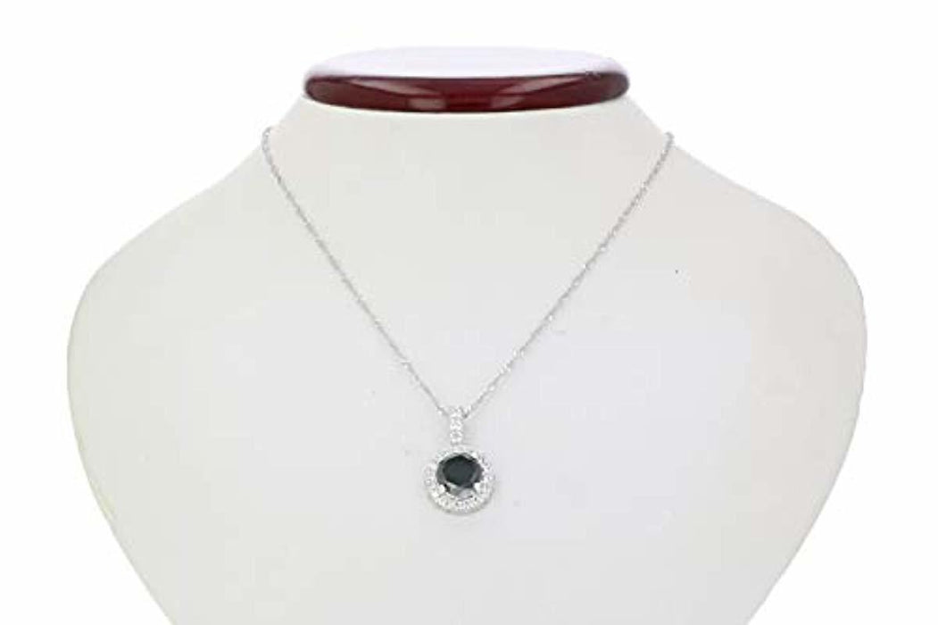 2 cttw Black Diamond Pendant Necklace in .925 Sterling Silver with 18 Inch Chain